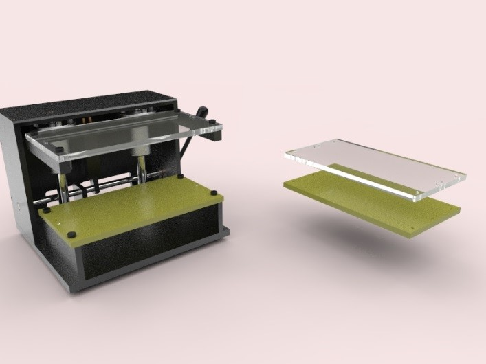 Mechanical press + two plates